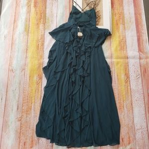 Pinkblush Dresses - Pinkblush Dark Green Ruffle Maternity Evening Gown
